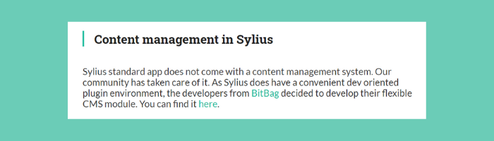 Sylius' approach to CMS